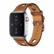 Apple Watch Hermès Series 4, 44mm Stainless Steel Case with Fauve Grained Barenia Leather Single Tour Rallye, GPS + Cellular - умен часовник от Apple