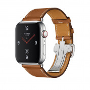 Apple Watch Hermès Series 4, 44mm Stainless Steel Case with Fauve Barenia Leather Single Tour Deployment Buckle, GPS + Cellular - умен часовник от Apple