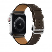 Apple Watch Hermès Series 4, 44mm Stainless Steel Case with Ébène Barenia Leather Single Tour Deployment Buckle, GPS + Cellular - умен часовник от Apple 2