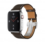 Apple Watch Hermès Series 4, 44mm Stainless Steel Case with Ébène Barenia Leather Single Tour Deployment Buckle, GPS + Cellular - умен часовник от Apple
