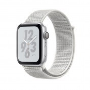 Apple Watch Nike+ Series 4, 44mm Silver Aluminum Case with Summit White Nike Sport Loop, GPS + Cellular - умен часовник от Apple