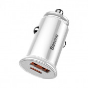 Baseus Dual USB & USB-C QC 3.0 Car Charger (white) 1