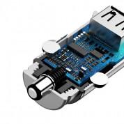 Baseus Dual USB & USB-C QC 3.0 Car Charger 30W CCALL-YS02 - зарядно за кола с USB и USB-C изходи и технология за бързо зареждане (бял) 4