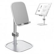 Baseus Literary Youth Desktop Bracket - елегантна поставка за бюро и гладки повърхности за смартфони и таблети (сребрист) 1