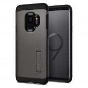 Spigen Tough Armor Case - хибриден кейс с най-висока степен на защита за Samsung Galaxy S9 (тъмносив)