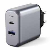 Satechi 30W Dual USB-C Wall Charger - захранване с USB-C изход (18W) и 1 x USB 3.0 изход (сив) 2