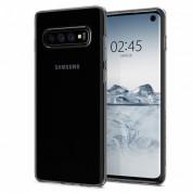 Spigen Liquid Crystal Case - тънък качествен силиконов (TPU) калъф за Samsung Galaxy S10 (прозрачен)