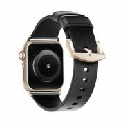 Nomad Strap Modern Slim Leather - кожена (естествена кожа) каишка за Apple Watch 38мм, 40мм (черен-златист)