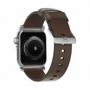 Nomad Strap Modern Slim Leather Brown Connector Silver 38/40 mm