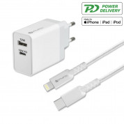4smarts Wall Charger Set VoltPlug MFI 18W Plus 12W with USB-C Cable (white)