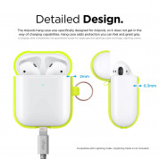 Elago Airpods Silicone Hang Case - силиконов калъф с карабинер за Apple Airpods 2 with Wireless Charging Case (жълт-фосфор) 6