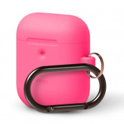 Elago Airpods Silicone Hang Case - силиконов калъф с карабинер за Apple Airpods 2 with Wireless Charging Case (розов-фосфор) 1