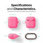 Elago Airpods Silicone Hang Case - силиконов калъф с карабинер за Apple Airpods 2 with Wireless Charging Case (розов-фосфор) 7