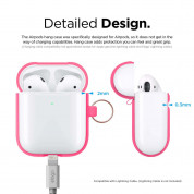 Elago Airpods Silicone Hang Case - силиконов калъф с карабинер за Apple Airpods 2 with Wireless Charging Case (розов-фосфор) 6