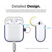 Elago Airpods Duo Hang Silicone Case - силиконов калъф за Apple Airpods 2 with Wireless Charging Case (тъмносин-бял) 5