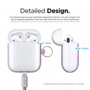 Elago Airpods Duo Hang Silicone Case - силиконов калъф за Apple Airpods 2 with Wireless Charging Case (лилав-светлосин) 5