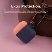 Elago Airpods Duo Hang Silicone Case - силиконов калъф за Apple Airpods 2 with Wireless Charging Case (тъмносин-оранжев) 4