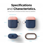 Elago Airpods Duo Hang Silicone Case - силиконов калъф за Apple Airpods 2 with Wireless Charging Case (тъмносин-оранжев) 6