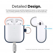 Elago Airpods Duo Hang Silicone Case - силиконов калъф за Apple Airpods 2 with Wireless Charging Case (тъмносин-оранжев) 5