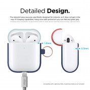 Elago Airpods Duo Hang Silicone Case - силиконов калъф за Apple Airpods 2 with Wireless Charging Case (тъмносин-светлосин) 5