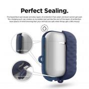 Elago Airpods Waterproof Active Hang Case - водоустойчив силиконов калъф с карабинер за Apple Airpods (тъмносин) 3