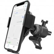 Macally Car Vent Phone Holder - поставка за радиатора на кола с безжично зареждане за QI съвместими смартфони с ширина от 54мм. до 120мм.