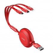 Baseus Golden Loop 3-in-1 Elastic USB Cable with micro USB, Lightning and USB-C connectors (120 cm) (red) 2