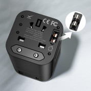 Baseus Removable 2in1 Wall Charger + Universal Travel Adapter EU UK USA/AUS 18W USB USB-C 3A (black) 7