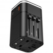 Baseus Removable 2in1 Wall Charger + Universal Travel Adapter EU UK USA/AUS 18W USB USB-C 3A (black) 1