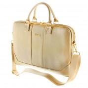 Guess Saffiano Bag - луксозна дизайнерска чанта с дръжки и презрамка за преносими компютри до 15 инча (златиста)