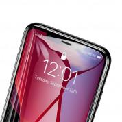 Baseus Full Screen Tempered Glass (0.30 mm) - калено стъклено защитно покритие за целия дисплей на iPhone 11 Pro, iPhone XS, iPhone X (прозрачен-черен) (2 броя) 3
