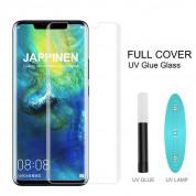 Nano Liquid UV Full Glue Tempered Glass - стъклено защитно покритие с течно лепило и UV лампа за дисплея на iPhone XR (прозрачен)