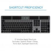 Macally Solar Powered Slim Bluetooth Wireless Keyboard - безжична Bluetooth клавиатура със соларно зареждане за MacBook и Apple компютри (тъмносив)  5