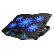 Omega Laptop Cooler Pad LCD Screen Black Blue Light