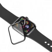 Baseus Full Screen Curved Tempered Glass - калено стъклено защитно покритие с извити ръбове за дисплея на Apple Watch Series 5/4 (44mm) (черен-прозрачен) 4