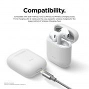 Elago Airpods Skinny Silicone Case - тънък силиконов калъф за Apple Airpods и Apple Airpods 2 with Wireless Charging Case (бял-фосфор)  4