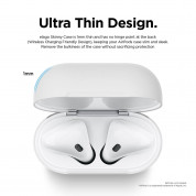 Elago Airpods Skinny Silicone Case - тънък силиконов калъф за Apple Airpods и Apple Airpods 2 with Wireless Charging Case (бял-фосфор)  2