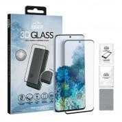 Eiger 3D Glass Edge to Edge Full Screen Tempered Glass - калено стъклено защитно покритие с извити ръбове за целия дисплея на Samsung Galaxy S20 Plus (черен-прозрачен)