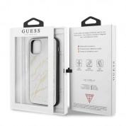 Guess Marble Glass Case - дизайнерски кейс с висока защита за iPhone 11 Pro Max (бял) 6