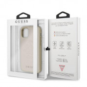 Guess Saffiano 4G Circle Logo Leather Hard Case - дизайнерски кожен кейс за iPhone 11 Pro Max (златист) 6