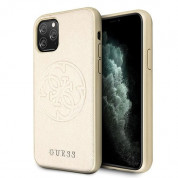 Guess Saffiano 4G Circle Logo Leather Hard Case - дизайнерски кожен кейс за iPhone 11 Pro Max (златист)