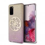 Guess Glitter 4G Circle Logo Case - дизайнерски кейс с висока защита за Samsung Galaxy S20 (розов)