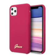 Guess Hard Silicone Case - силиконов (TPU) калъф за iPhone 11 Pro (червен)