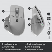 Logitech MX Master 3 Advanced Wireless Mouse - безжична мишка за PC и Mac (светлосив) 3