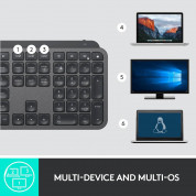 Logitech MX Keys Advanced Wireless Illuminated Keyboard - безжична клавиатура с подсветка (тъмносив)	 1