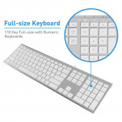 Macally Ultra Slim USB Wired Keyboard - жична клавиатура за Mac и PC (бял)  2