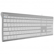 Macally Ultra Slim USB Wired Keyboard for Mac and PC (white)