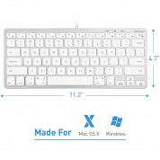 Macally Compact USB Wired Keyboard - компактна жична клавиатура за Mac и PC (бял)  1
