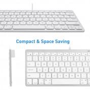 Macally Compact USB Wired Keyboard for Mac and PC (white) 8