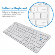 Macally Compact USB Wired Keyboard - компактна жична клавиатура за Mac и PC (бял)  2